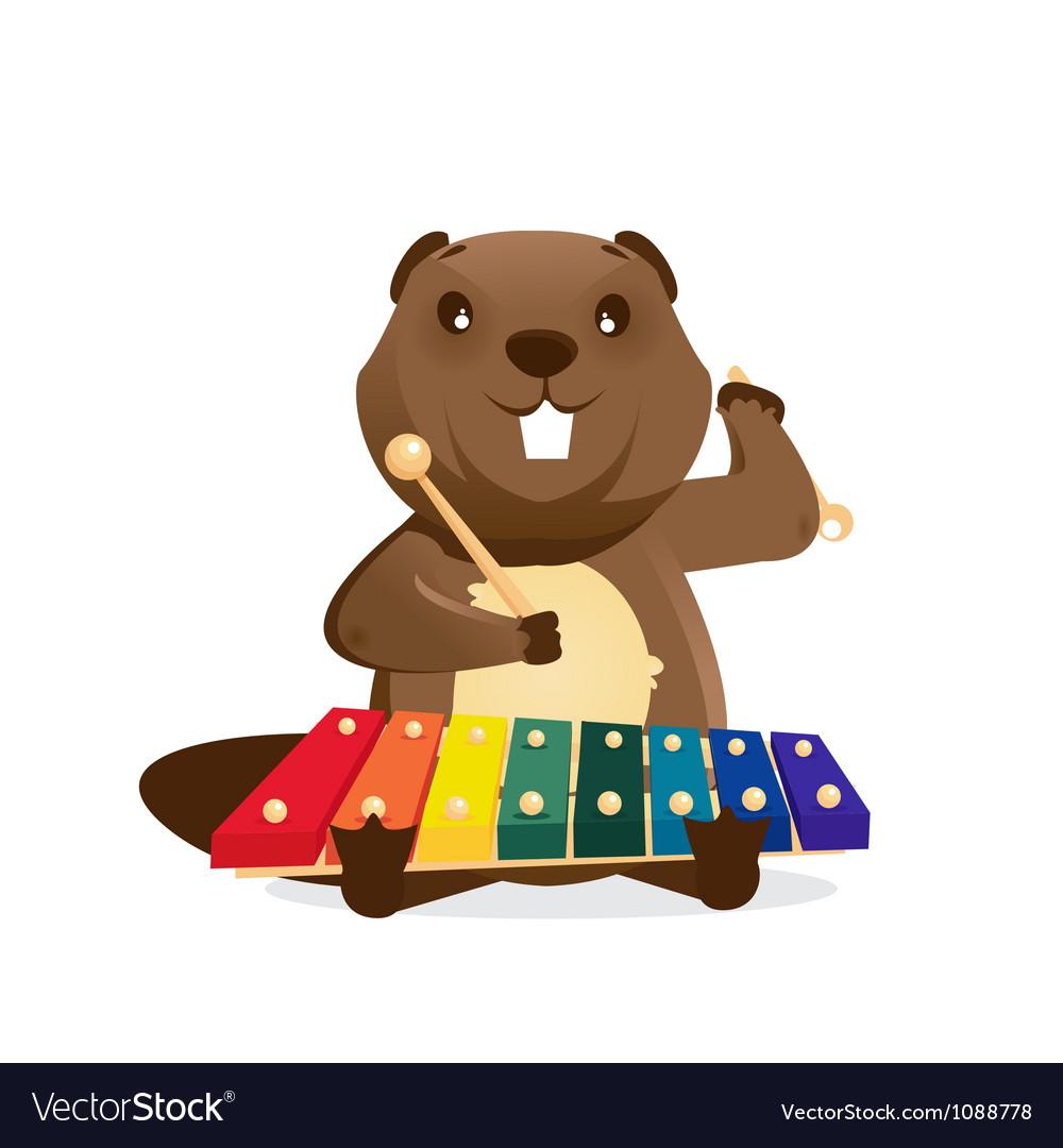 Musical animals beaver vector