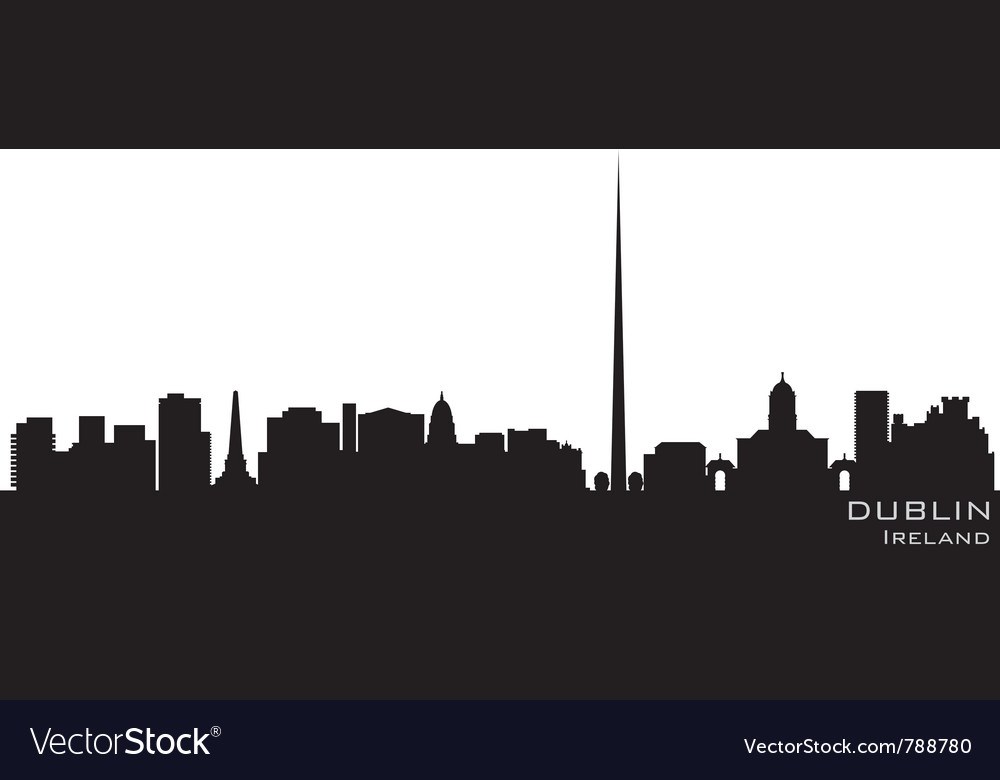 Dublin ireland skyline detailed silhouette vector