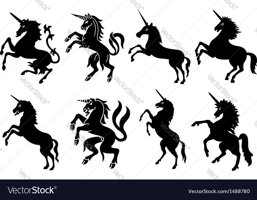 Heraldic unicorn silhouettes set vector
