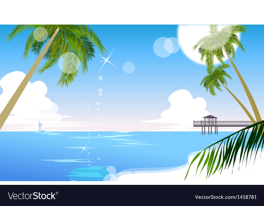Idyllic beach palm tree vector