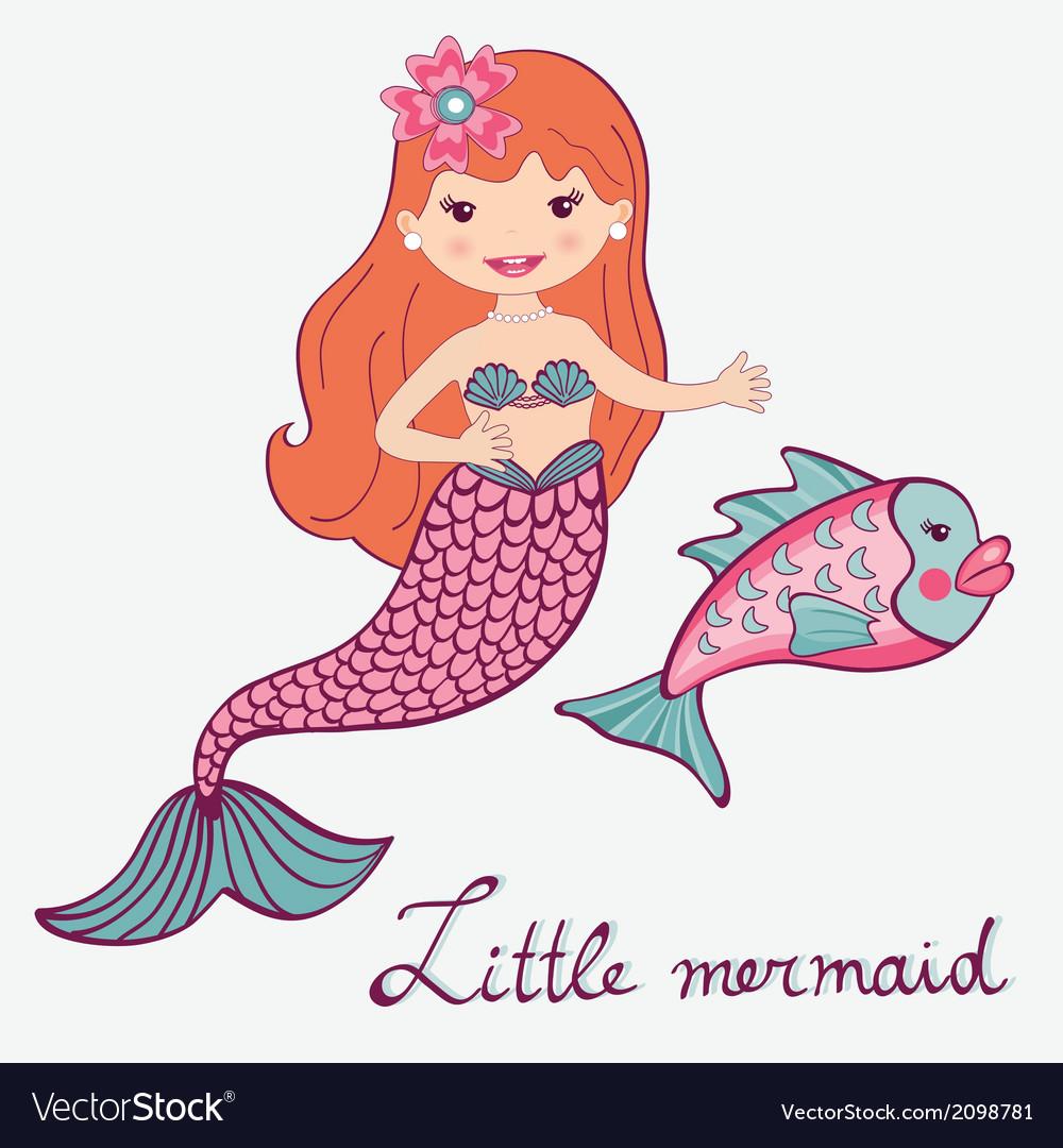 Mermaid and fish vector
