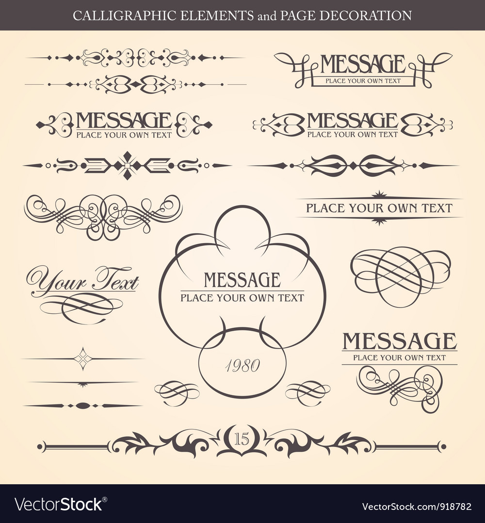 Calligraphic elements vector