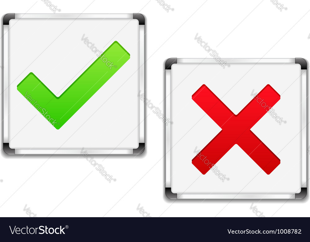 Check and cross symbols vector