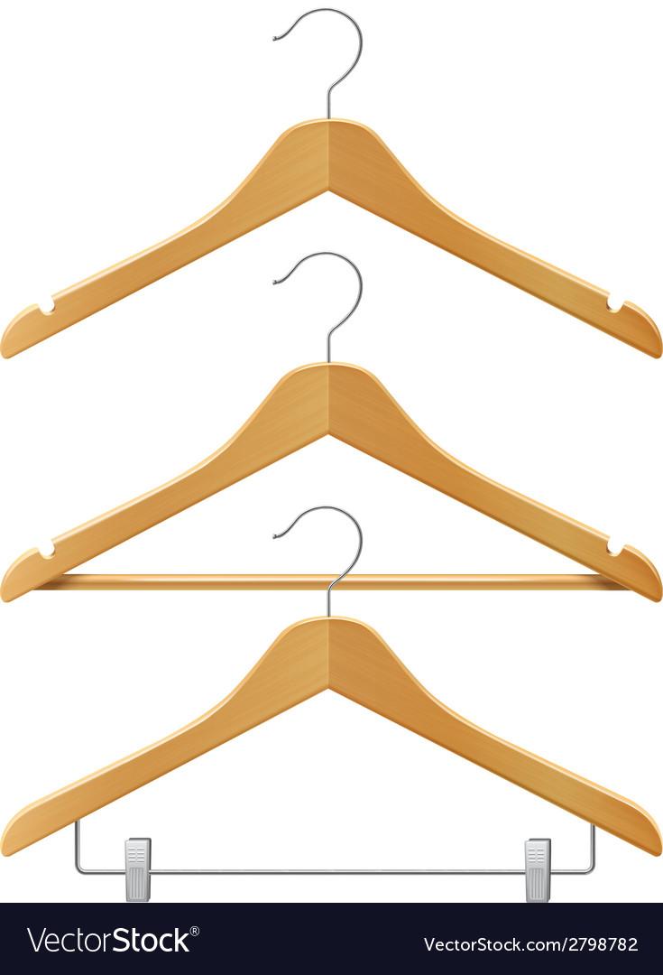 Clothes wooden hangers vector