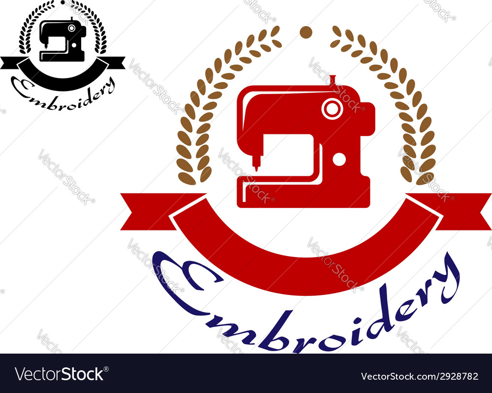 Embroidery or sewing emblem vector