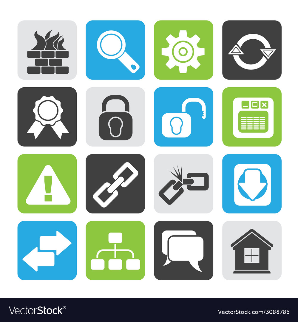 Silhouette internet and web site icons vector