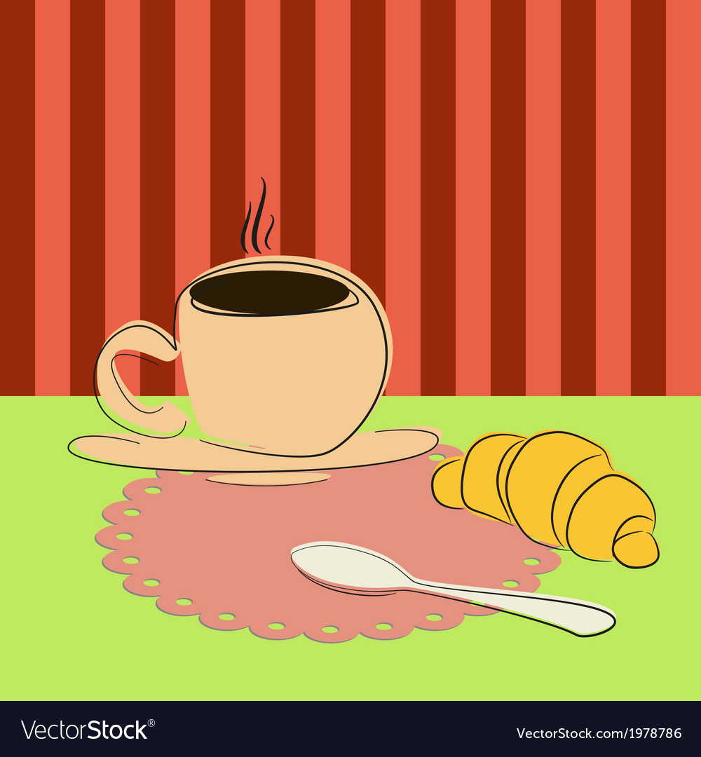 Cup of coffee and croissant on the table vector