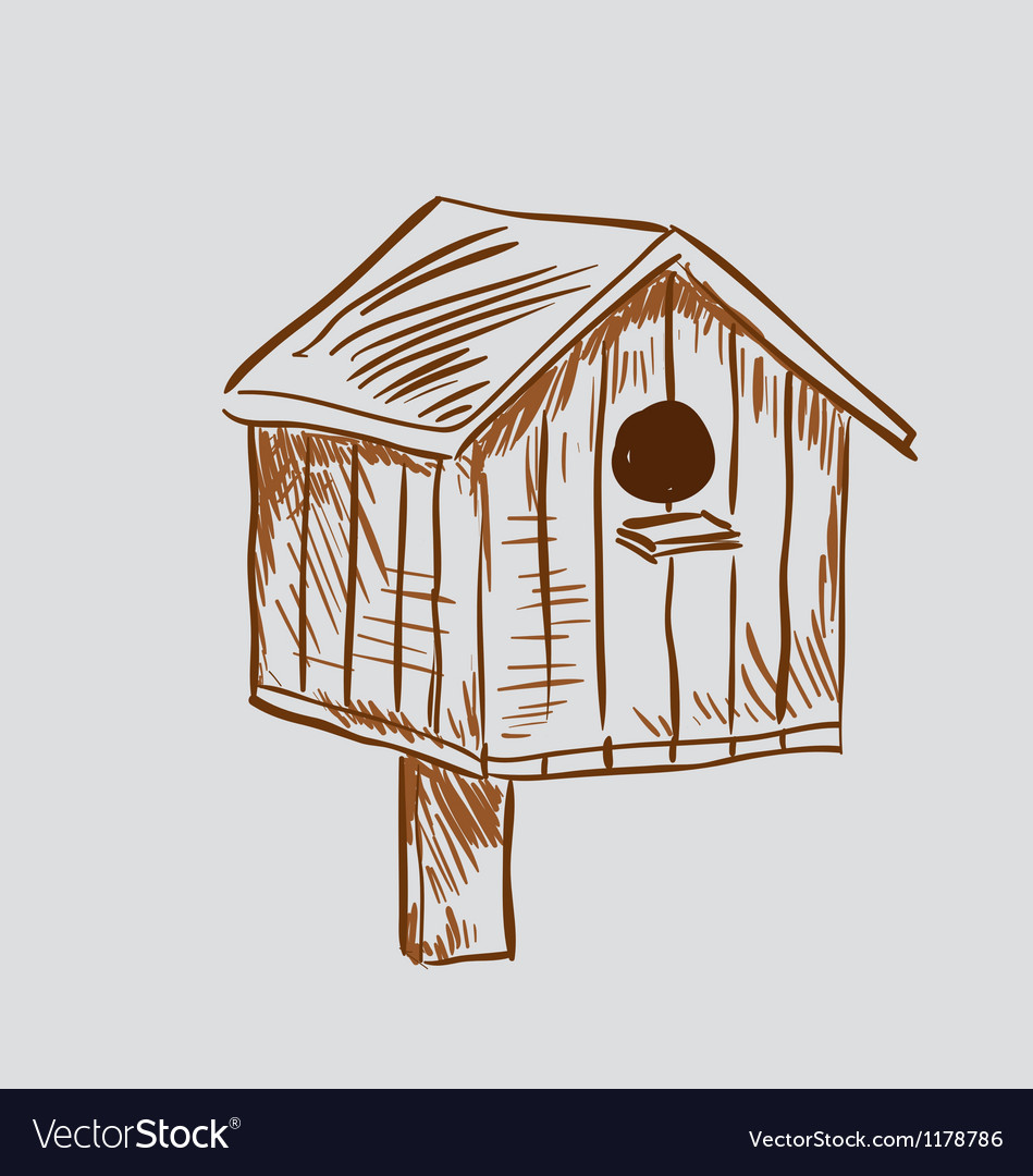 Nest box birdhouse vector