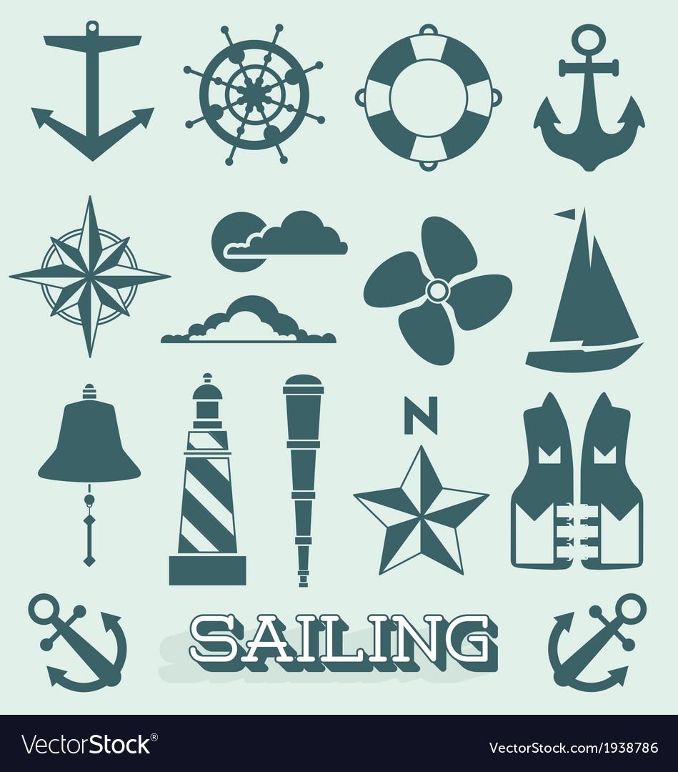 Set sailing icons and symbols vector