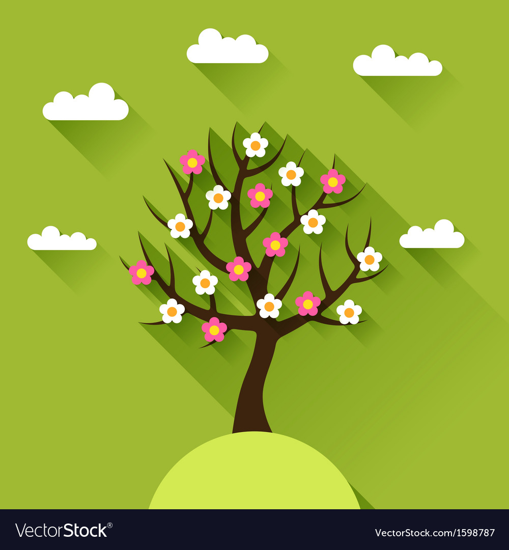 Background with spring tree in flat design style vector