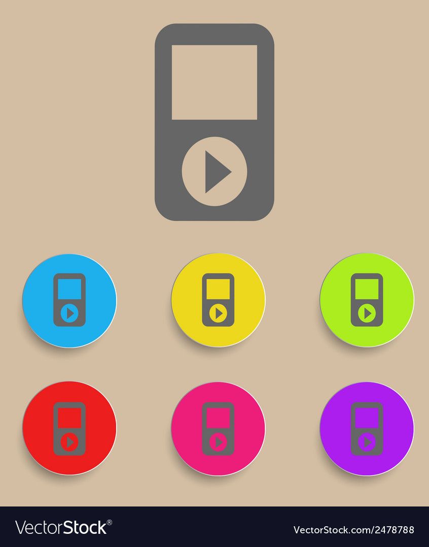Portable musical player with color variations vector