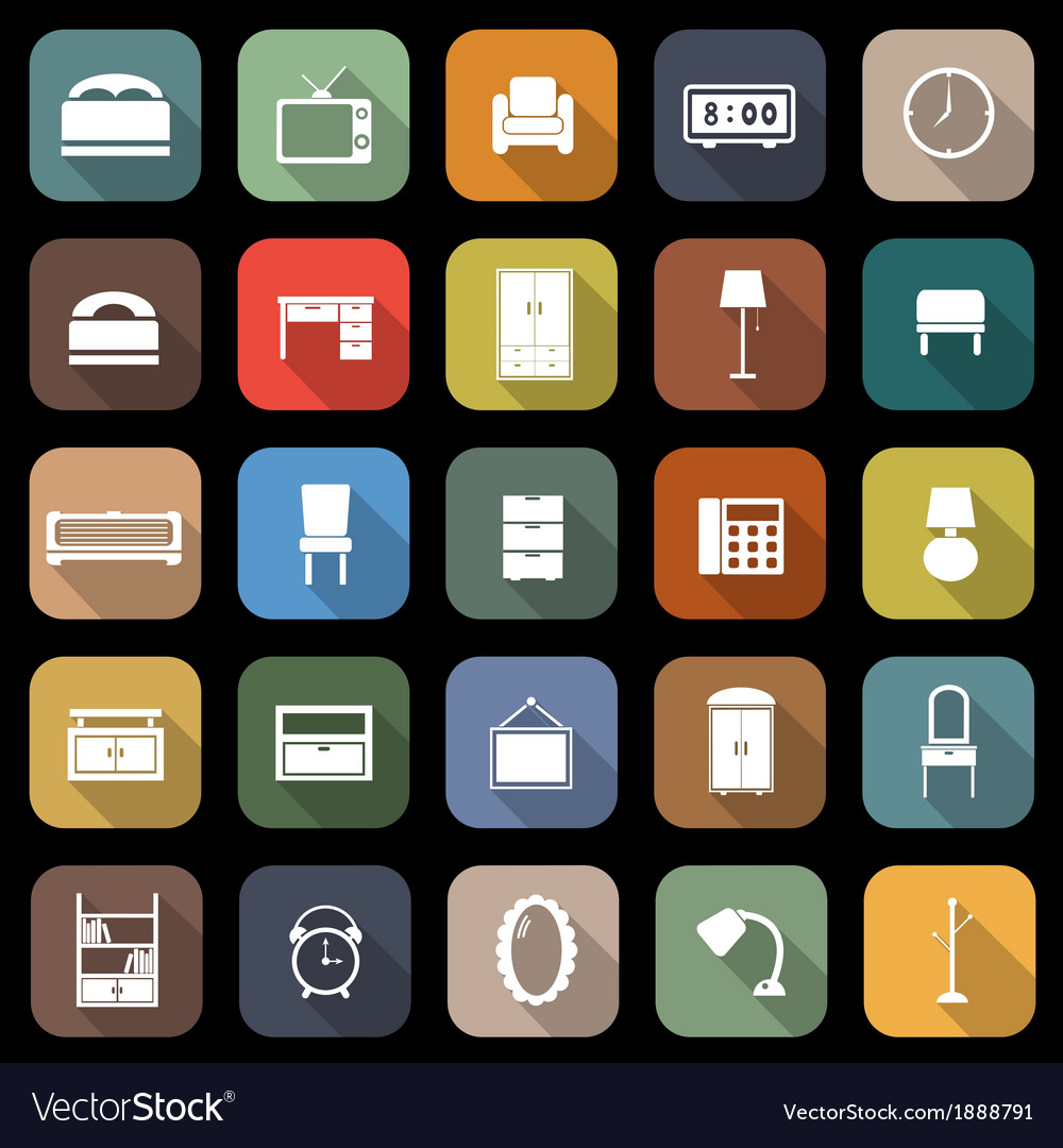 Bedroom flat icons with long shadow vector