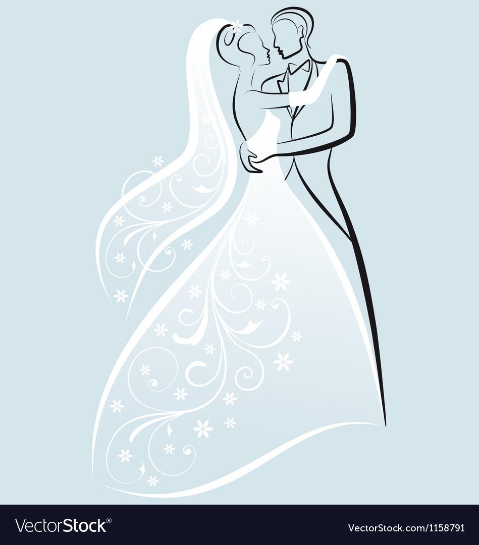 Bride and bridegroom wedding couple vector