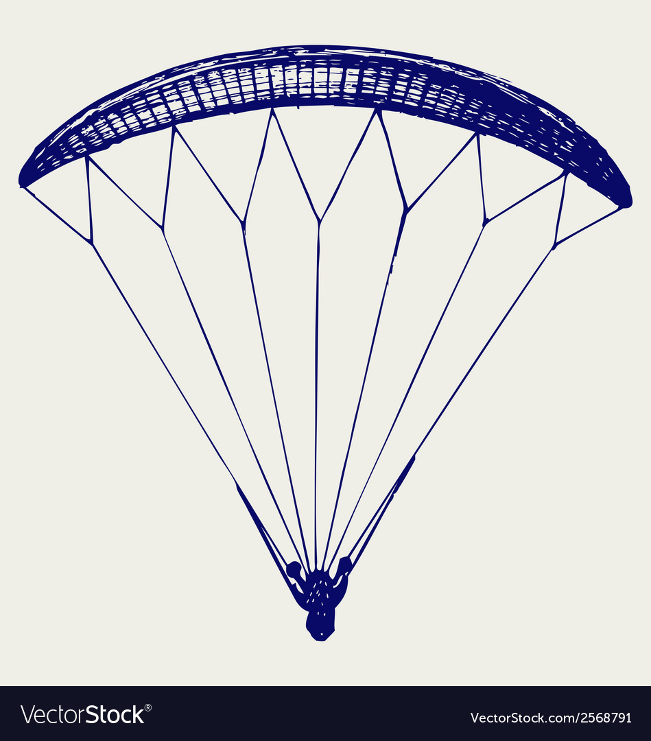 Man jumping with parachute vector