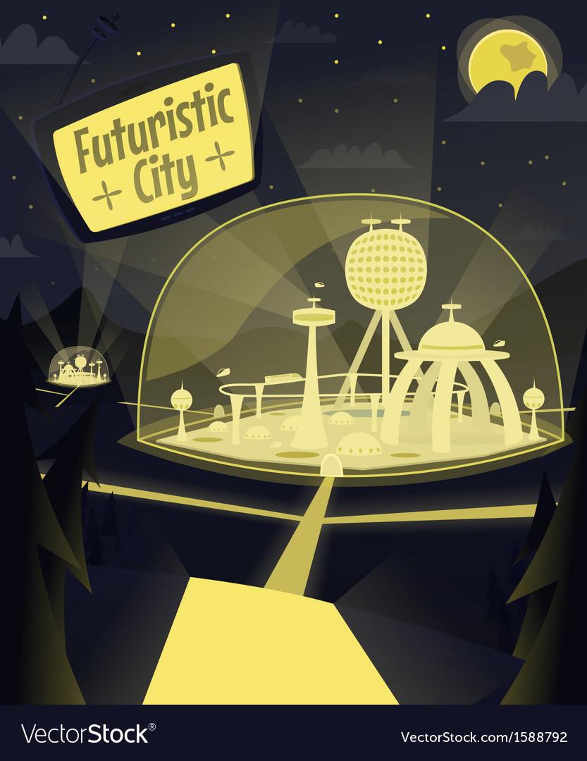 Night futuristic city vector