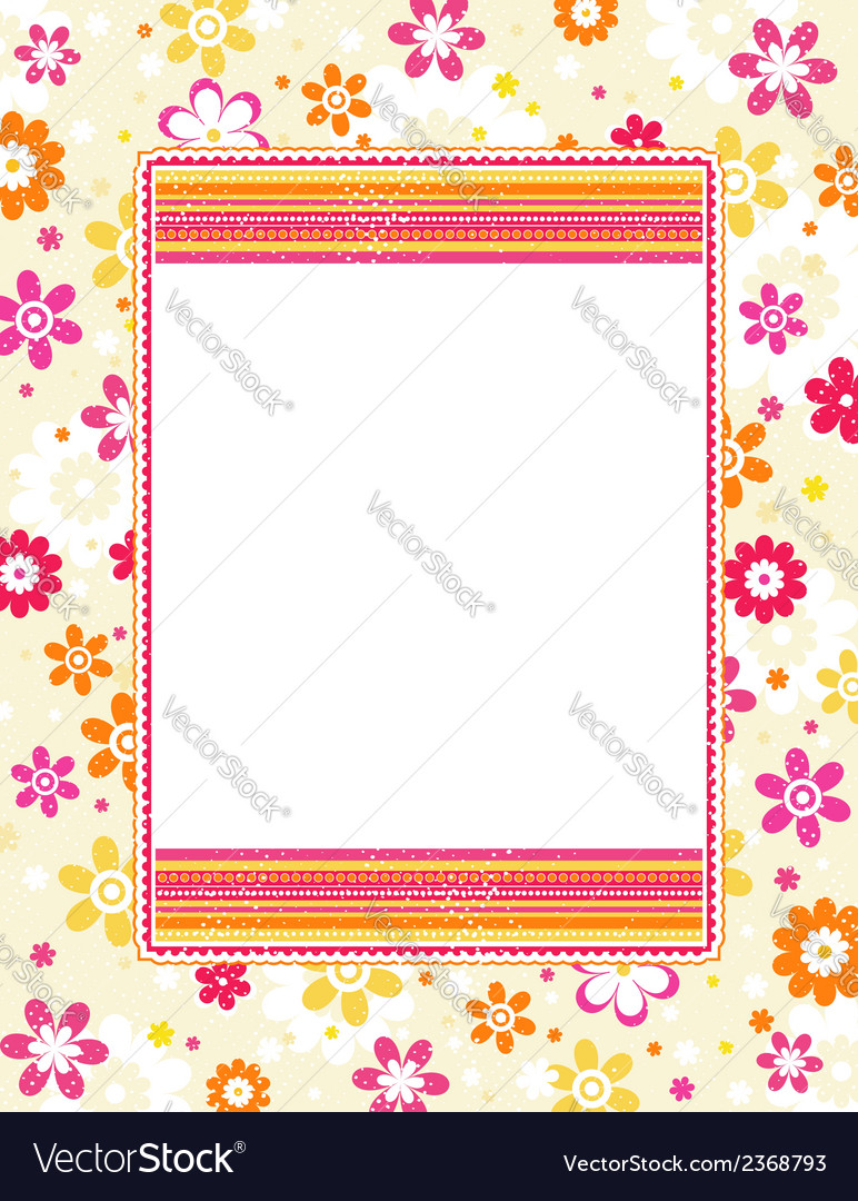 Color background with decorative flowers vector