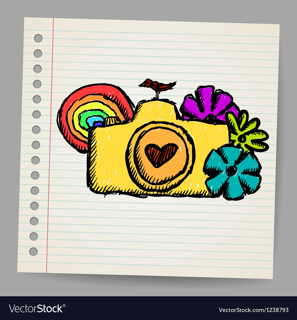 Hand drawn doodle digital camera vector