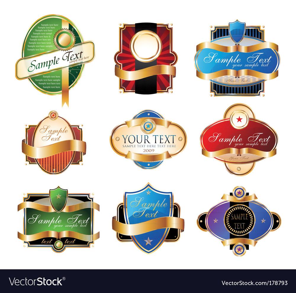 Set of vintage golden labels vector