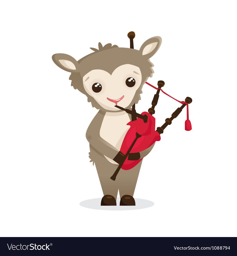 Musical animals sheep bagpipes vector