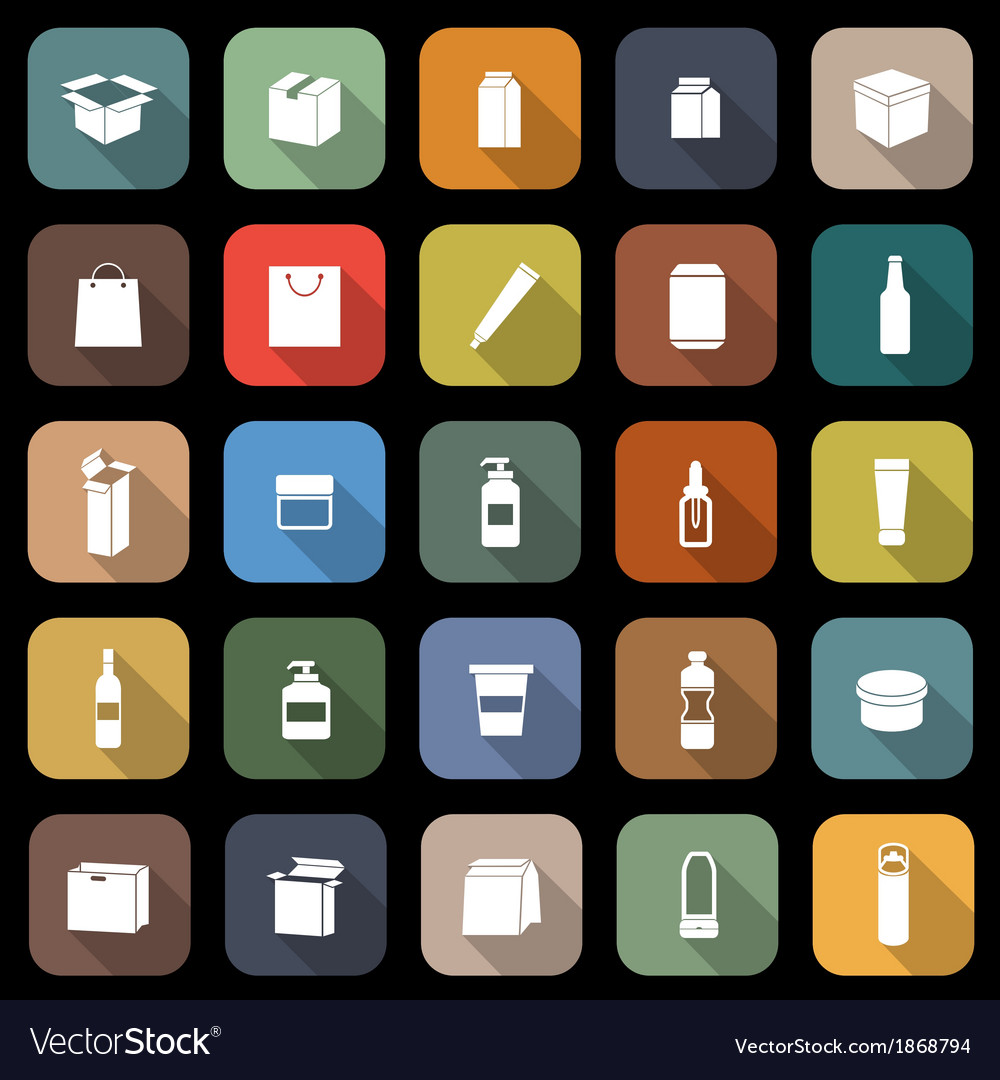 Packaging flat icons with long shadow vector