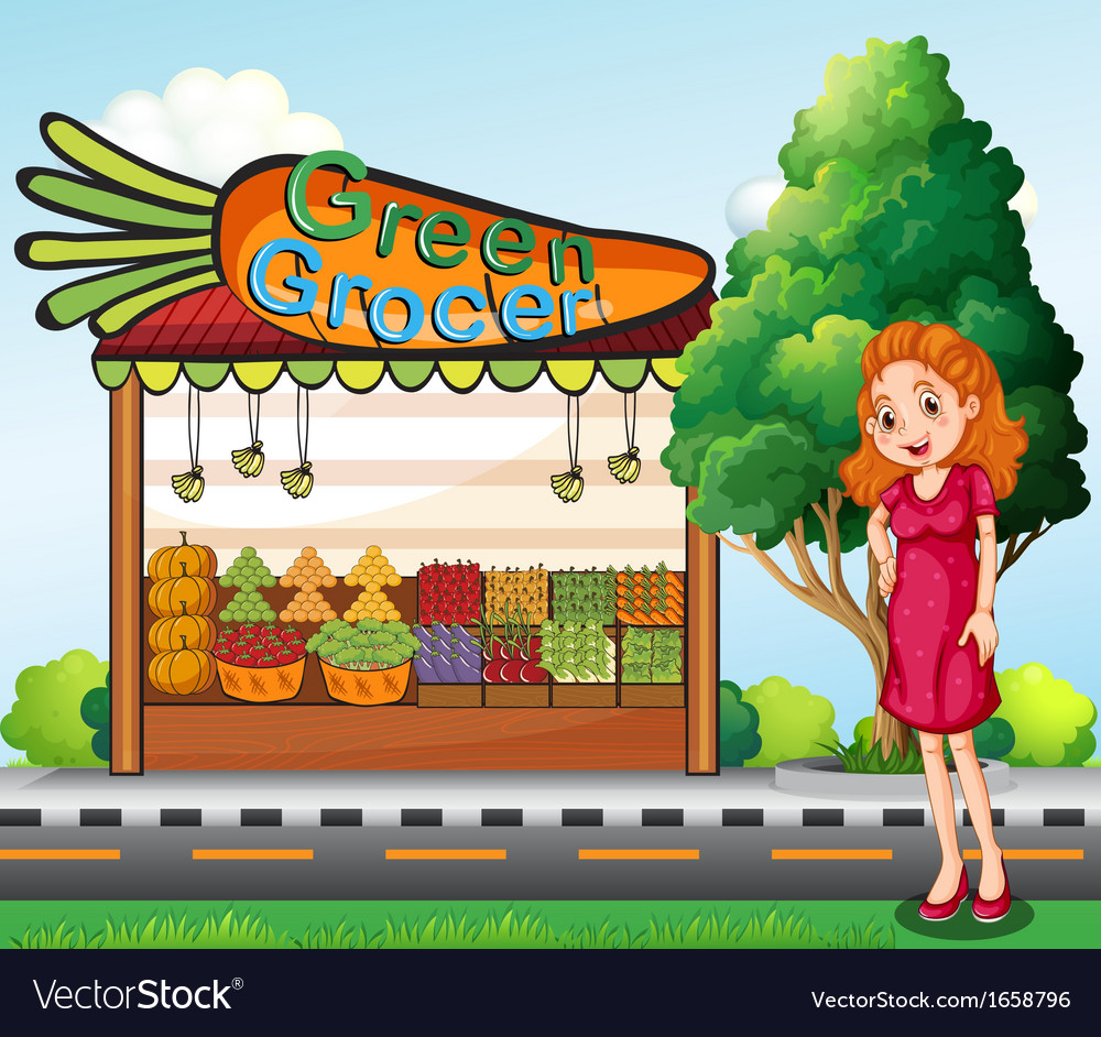 A woman in front of the green grocery stall vector
