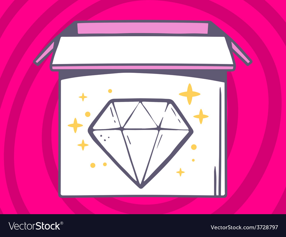 Open box with icon of diamond on pink pa vector