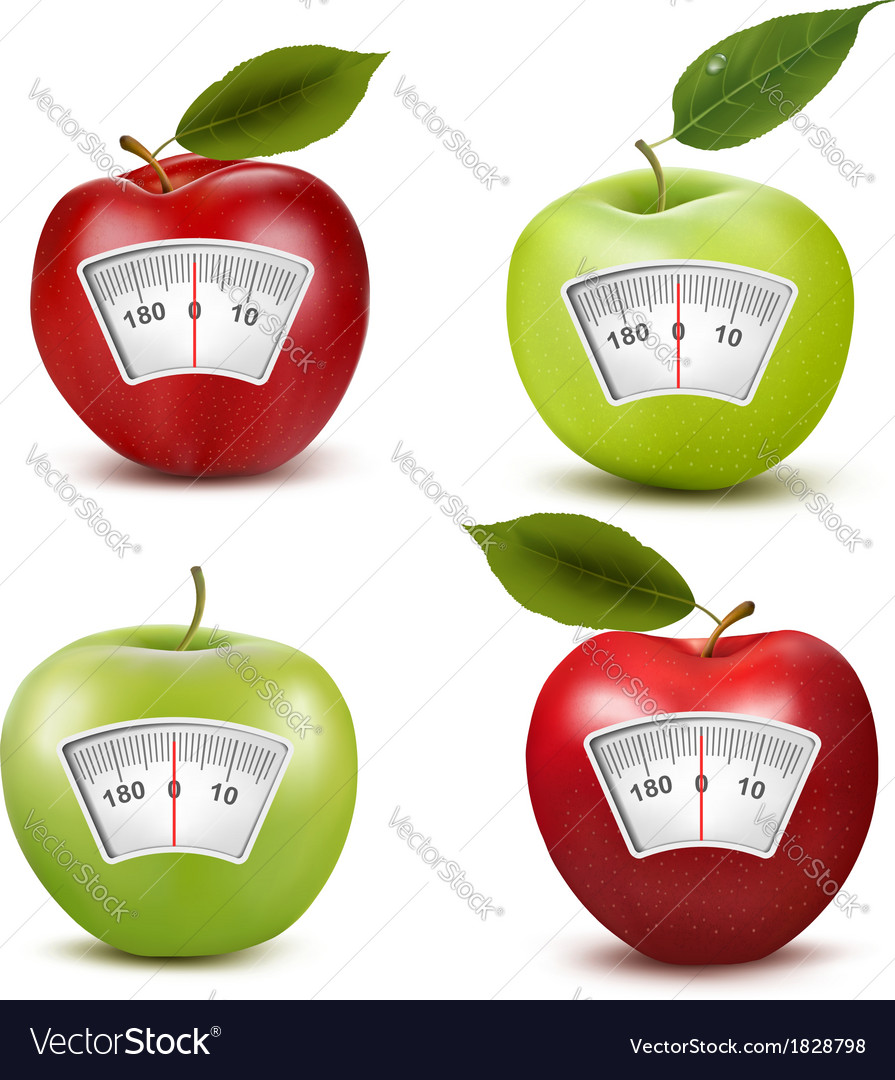 Set of apples with a weight scale diet concept vector
