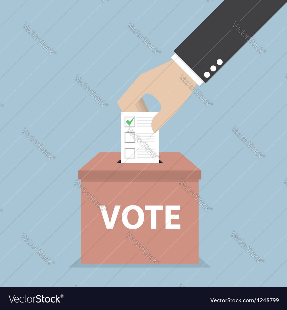Businessman hand putting voting paper in the ballo vector