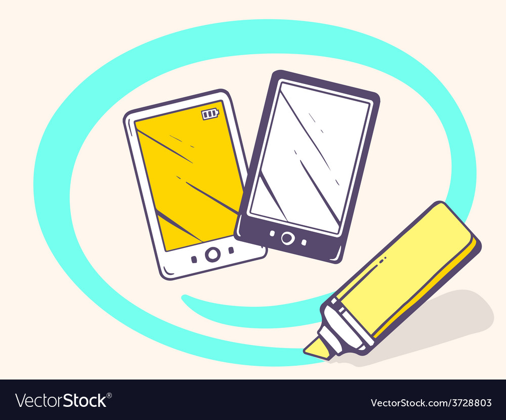 Marker drawing circle around phone on lig vector