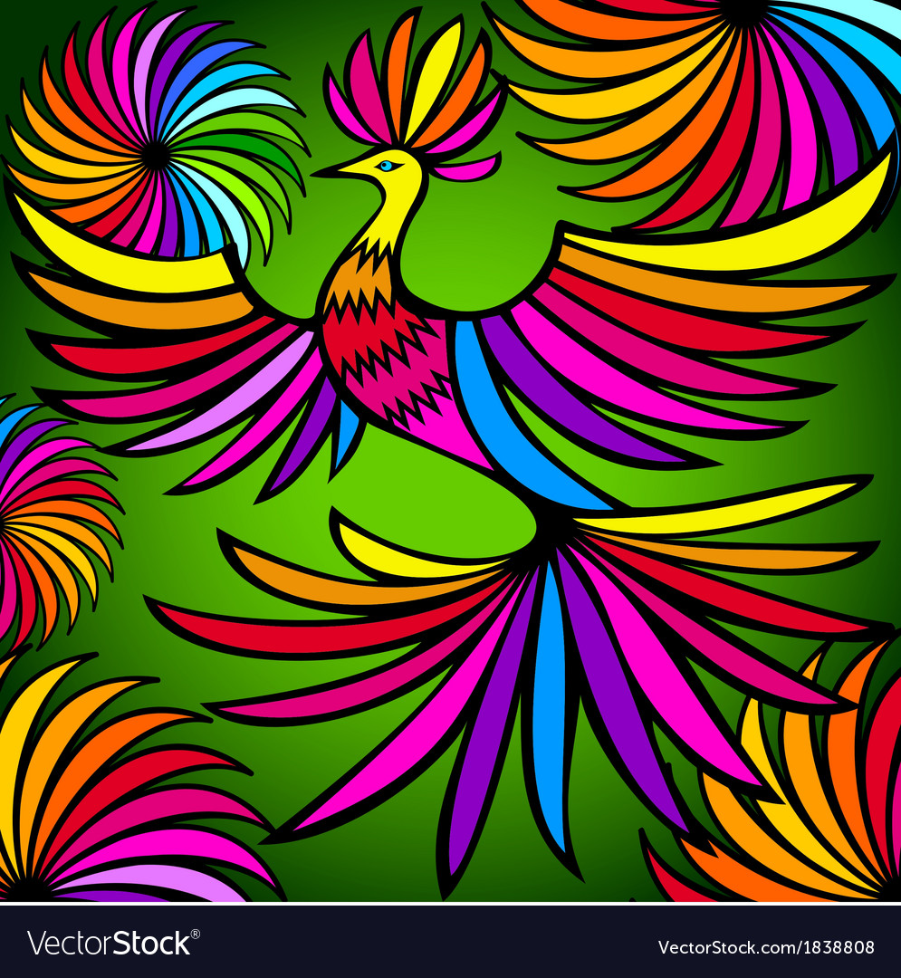 Exotic colorful bird vector