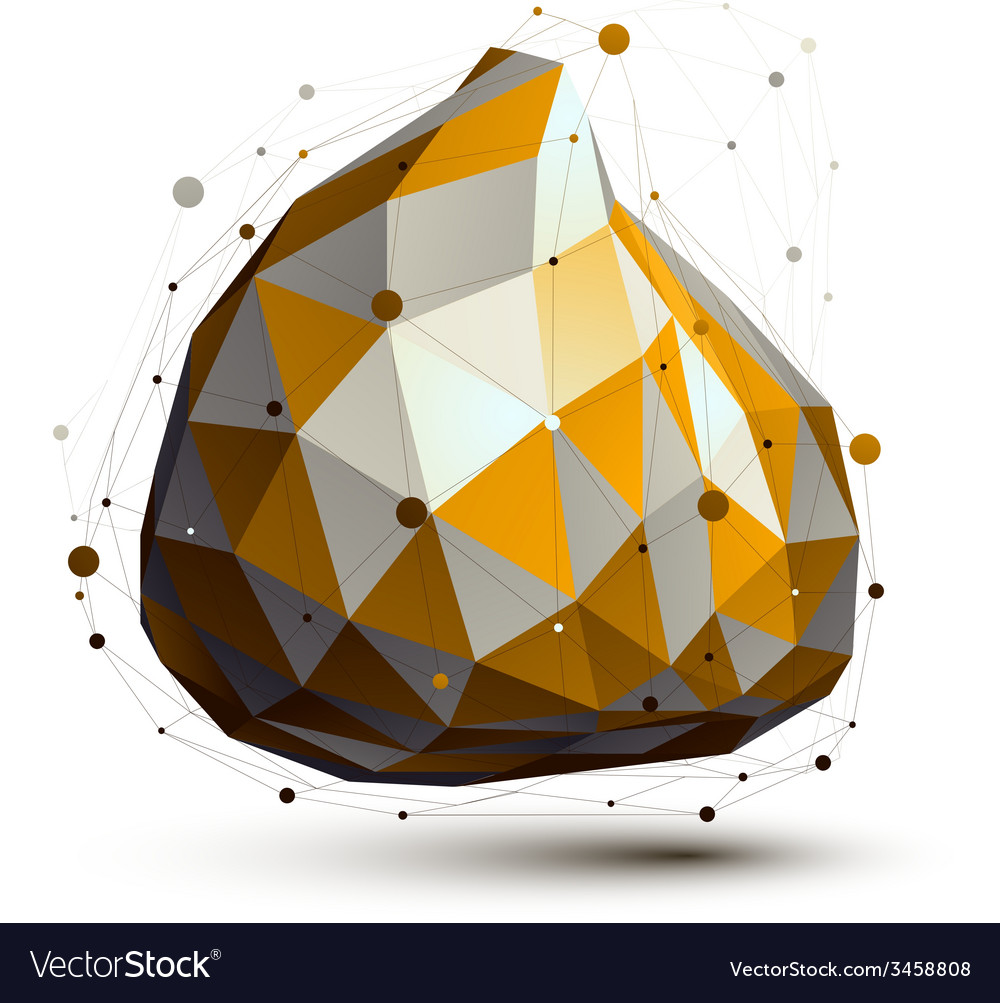 Gold and grey 3d abstract design object deformed vector