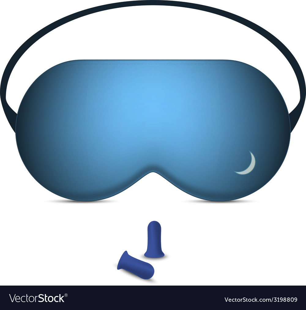 Sleeping mask and pair of foam earplugs vector