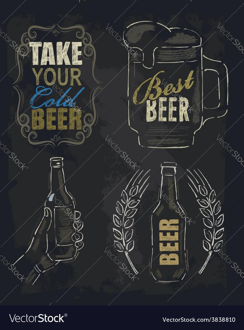 Chalk beer vector