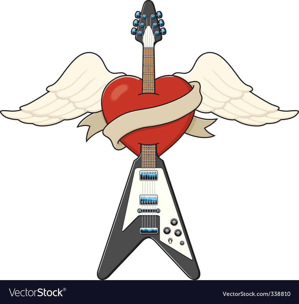 Guitar and heart tattoo vector