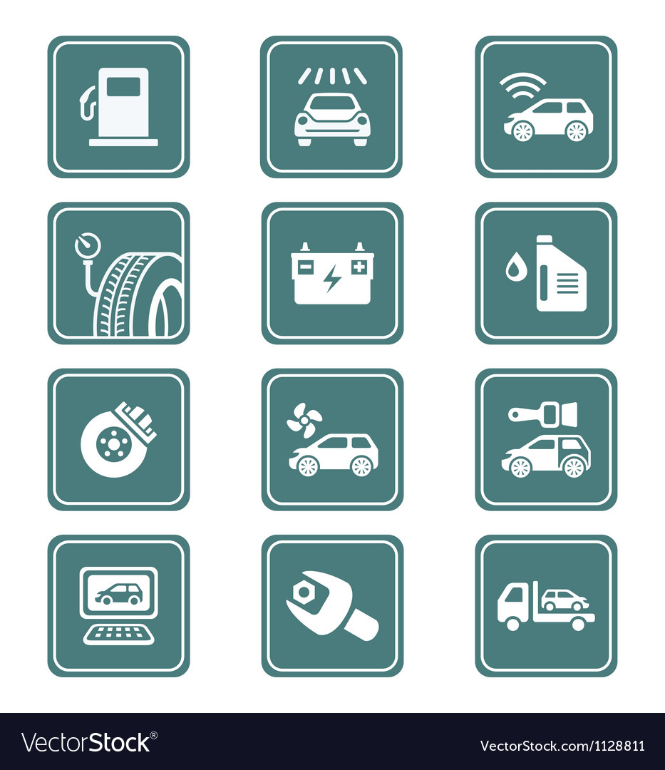 Car service icons - teal series vector