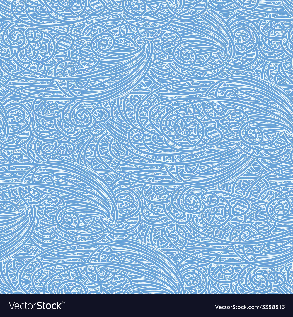 Seamless wave hand-drawn pattern waves vector