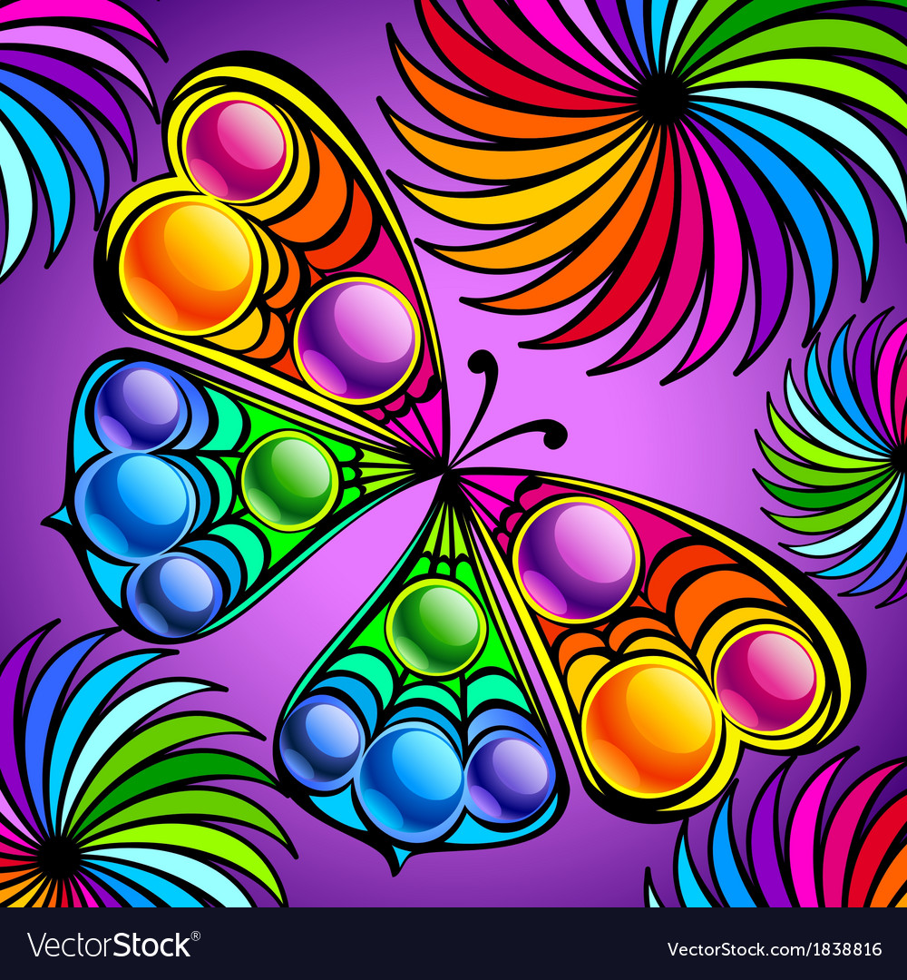 Exotic colorful butterfly vector