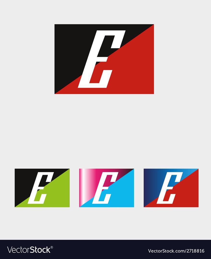 Rectangular logo with letter e vector