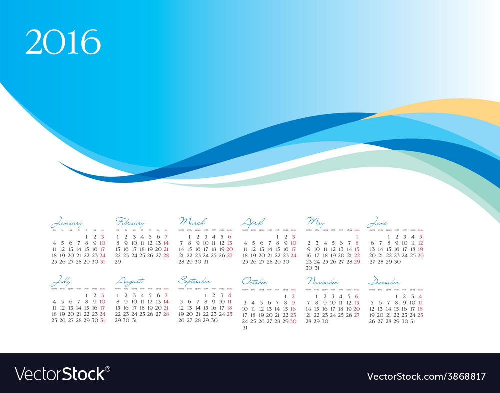 Template of 2016 calendar on blue background vector