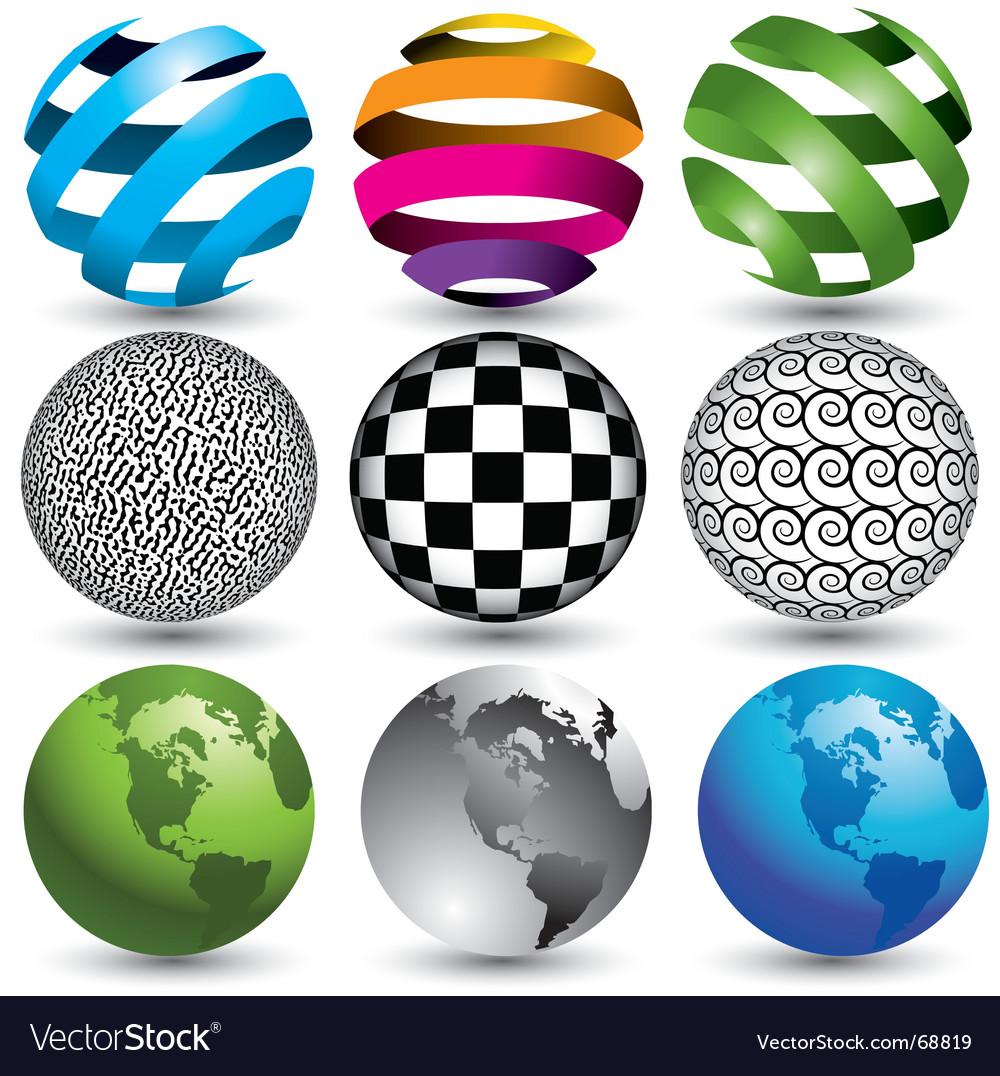 9 globes in editable format vector
