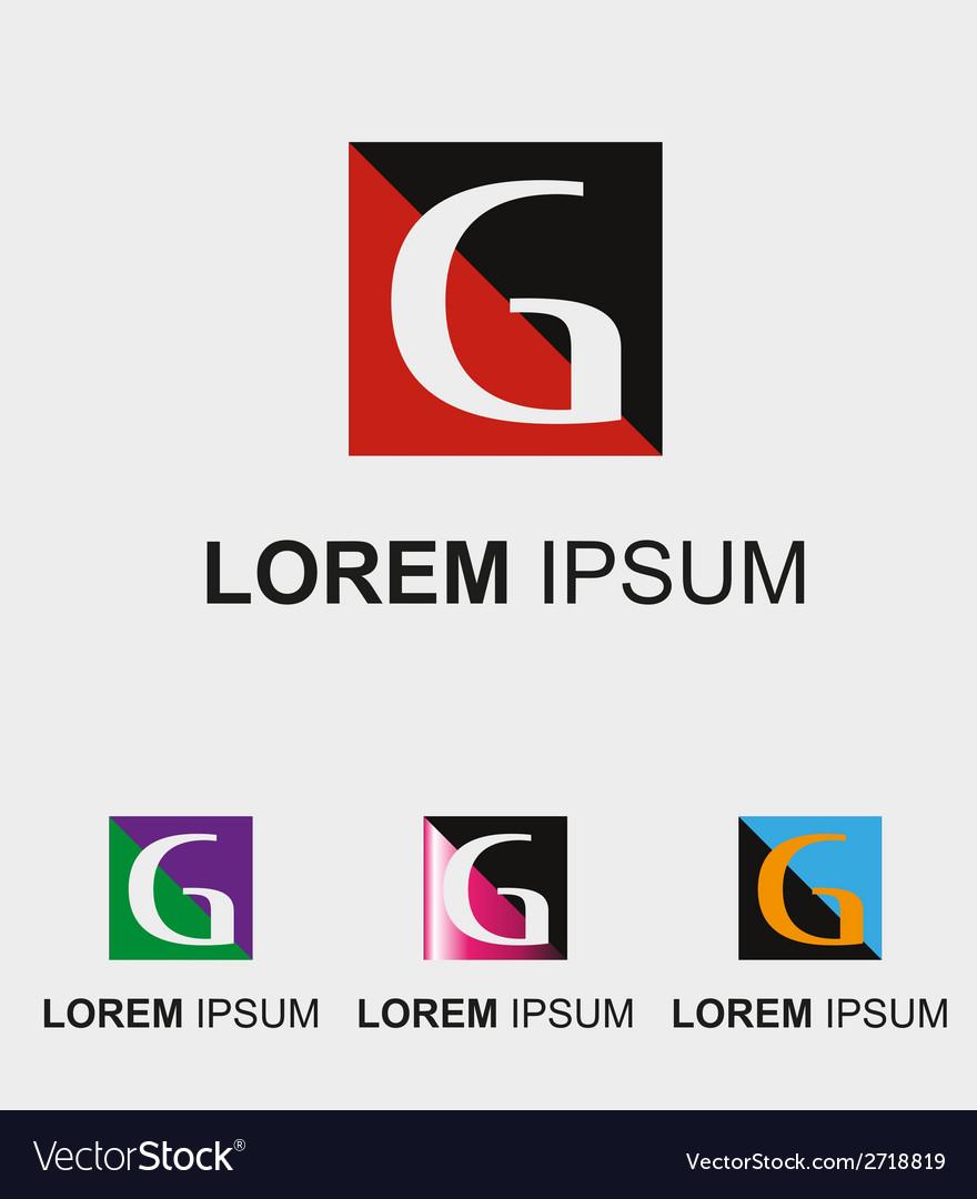Rectangular logo with letter g vector