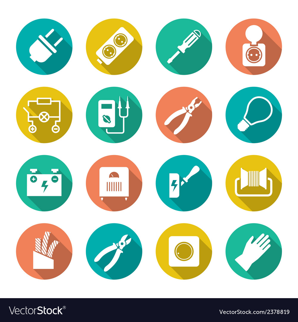 Set round flat icons of electricity vector