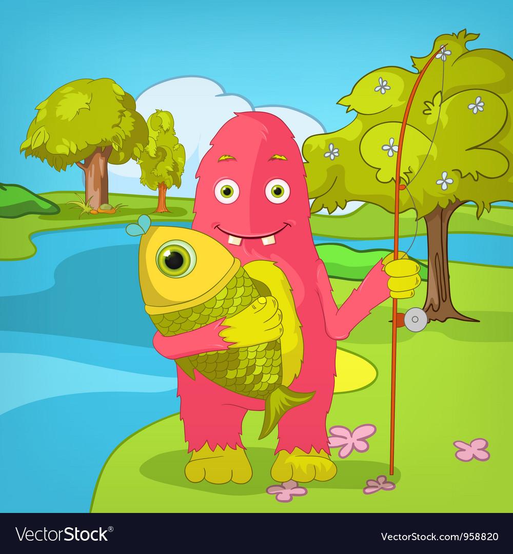 Funny monster fisherman vector