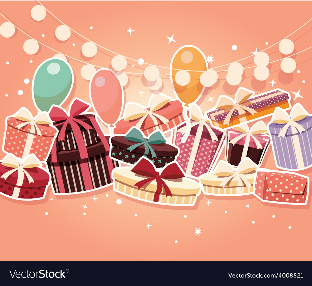 Birthday background with sticker presents balloons vector