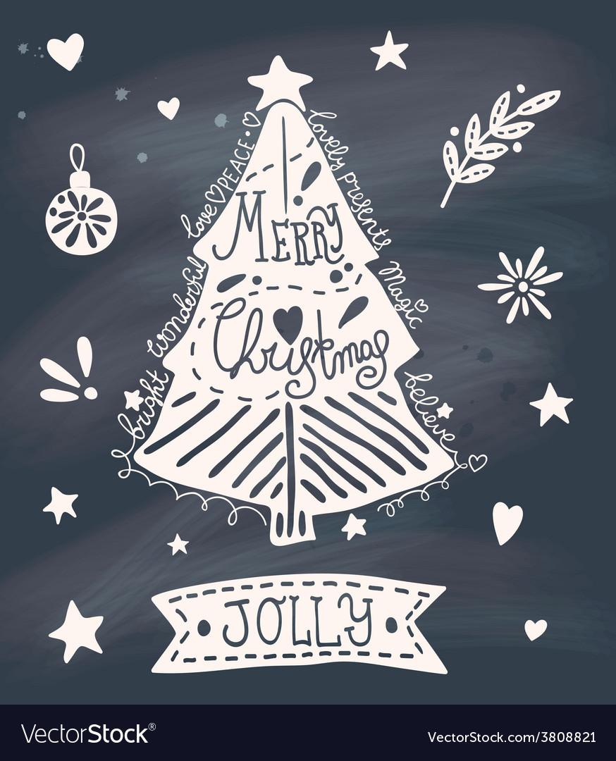 Christmas greeting card with sketchy christmas vector