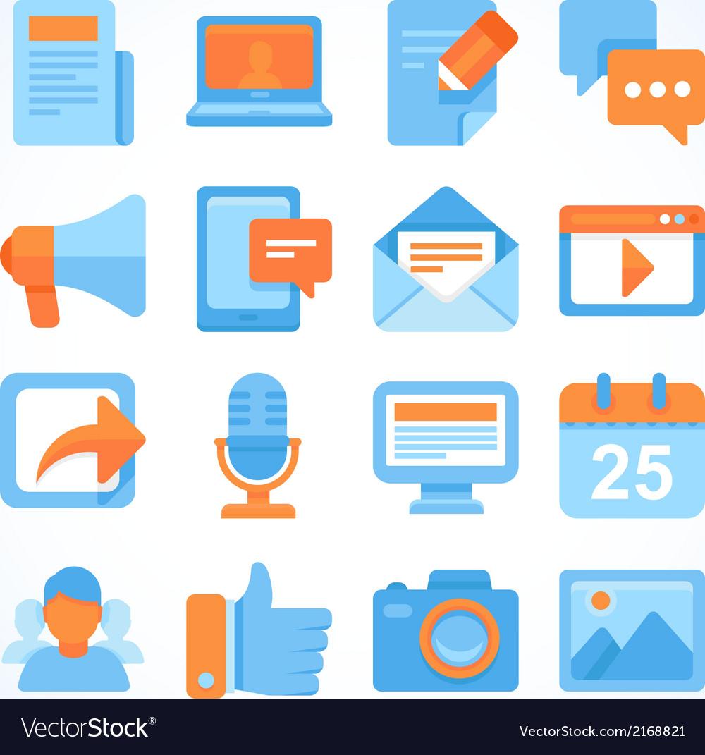 Flat icon set of blogging symbols vector
