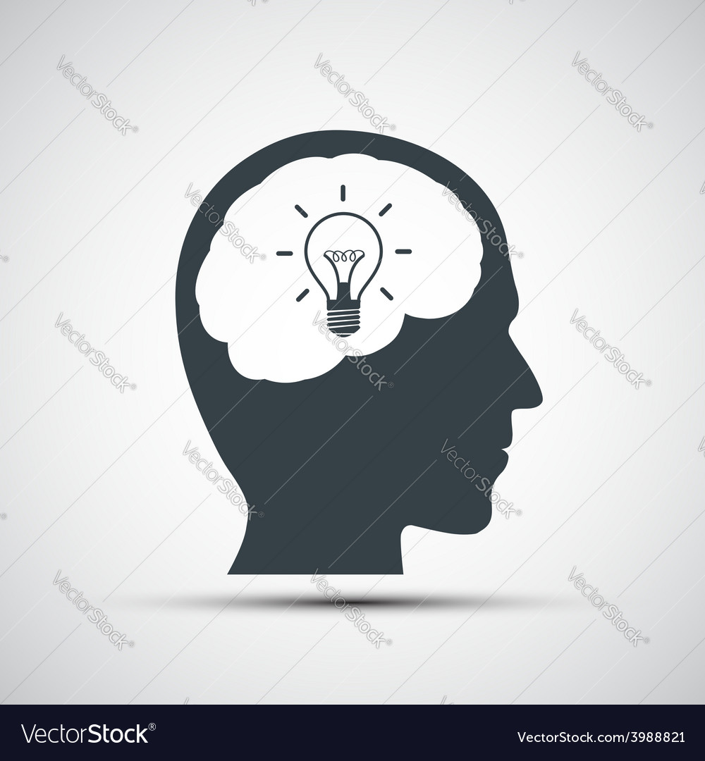 Icon of human head with a light bulb vector