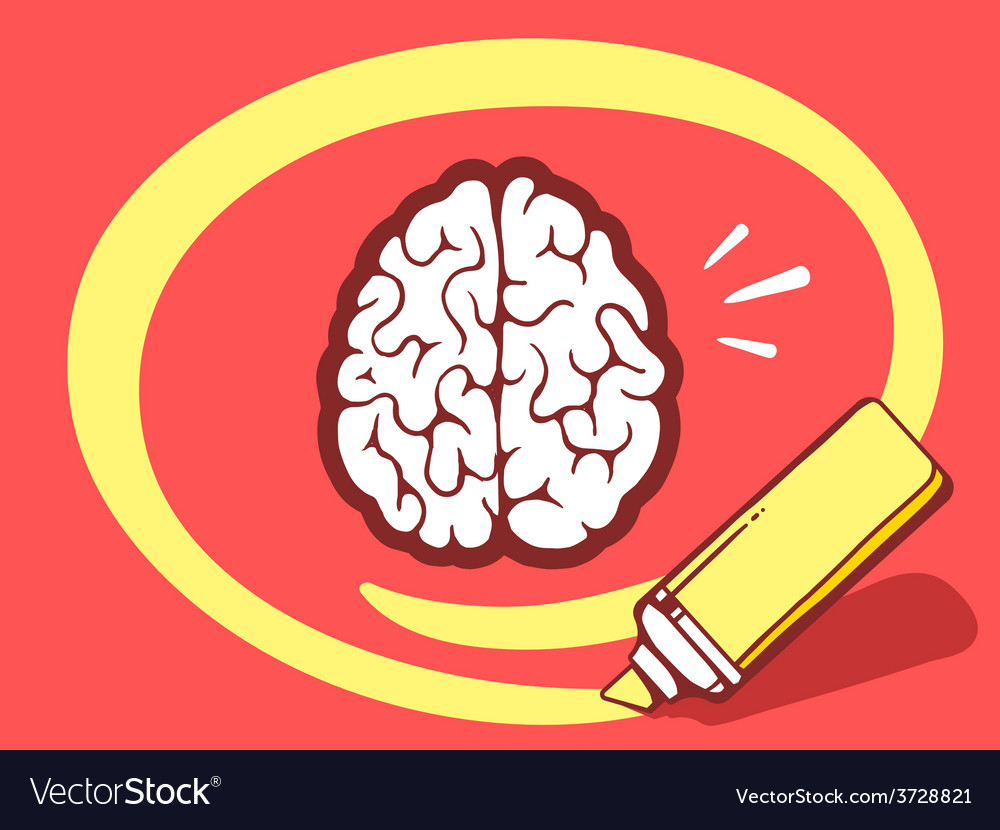 Marker drawing circle around brain on red vector