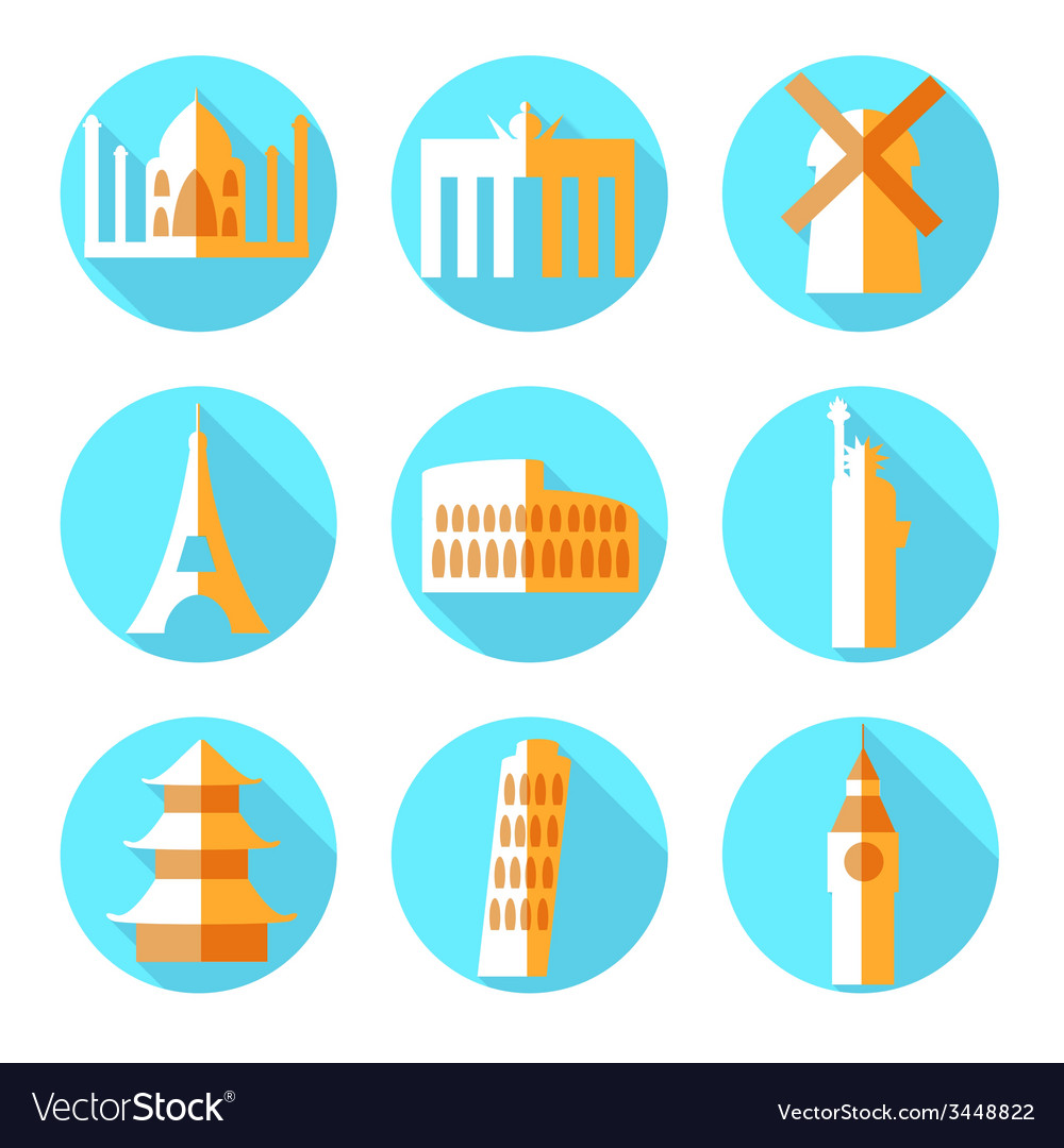 Flat architecture icons vector
