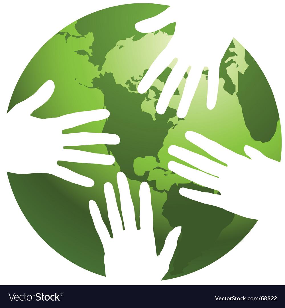 Globe hands vector
